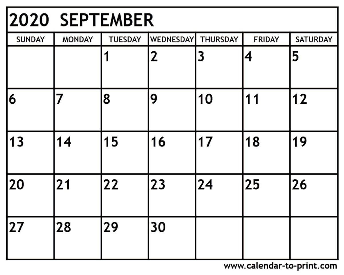 Calendar for September 2020 Printable September 2020 Calendar Printable