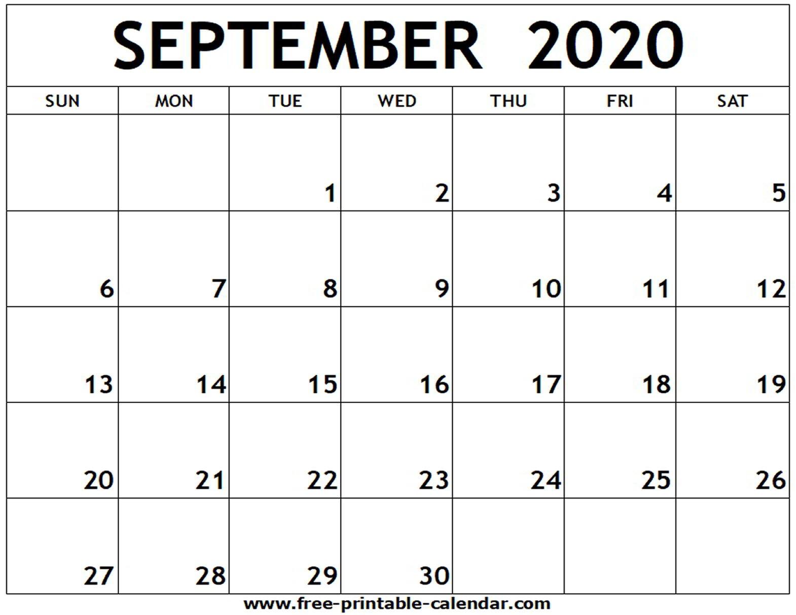 Calendar for September 2020 Printable September 2020 Printable Calendar Free Printable