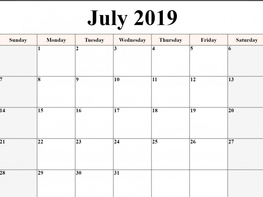 Download Printable Calendar 2019