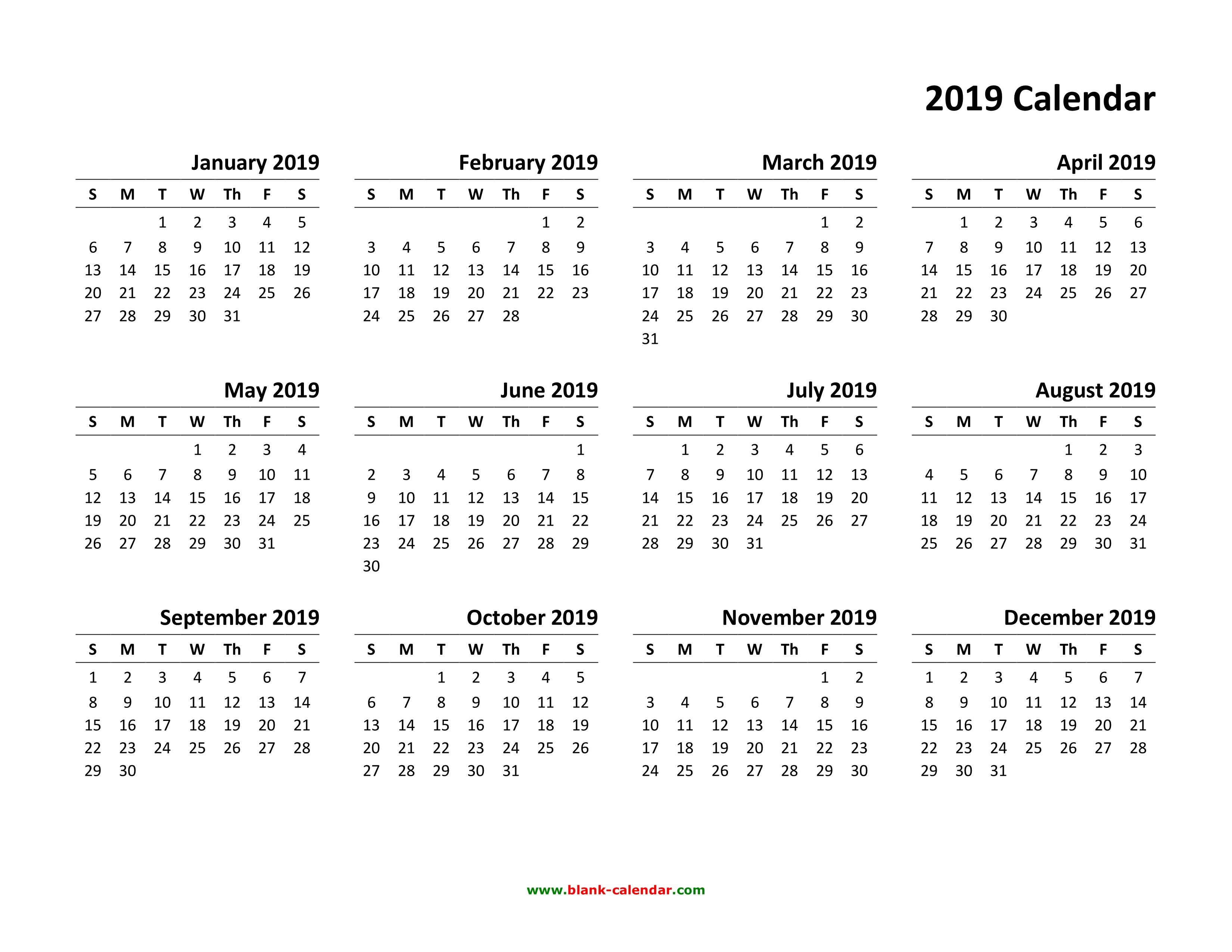 Download Printable Calendar 2019 Yearly Calendar 2019