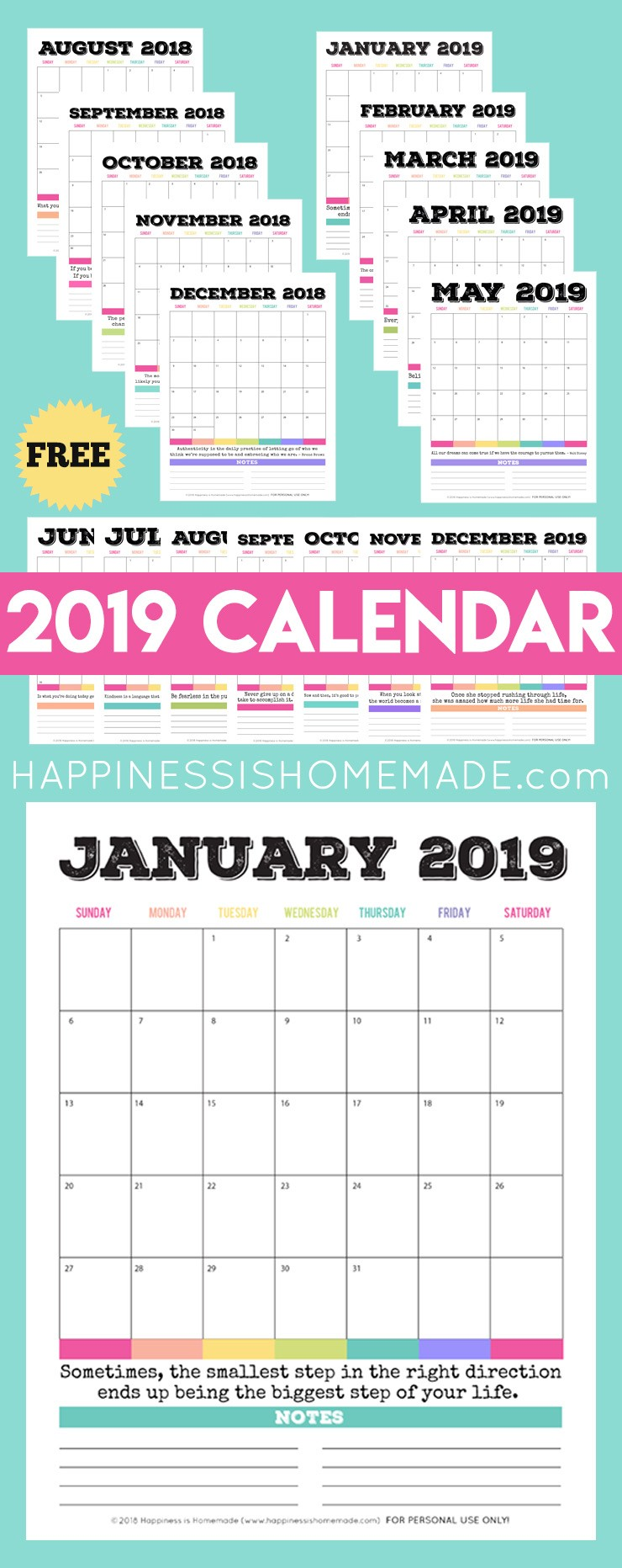 Free Printable 2019 Monthly Calendars 2019 Free Printable Calendar Printable Monthly Calendar