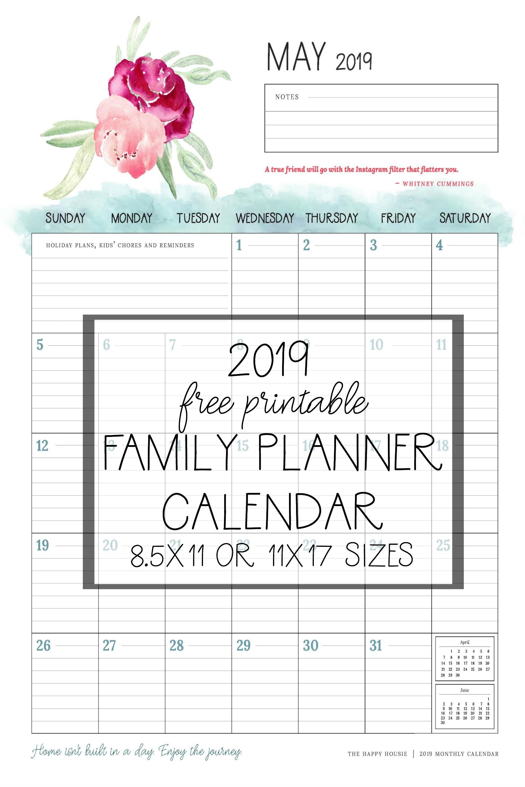 Free 2019 Printable Calendar Family Planner Organizer