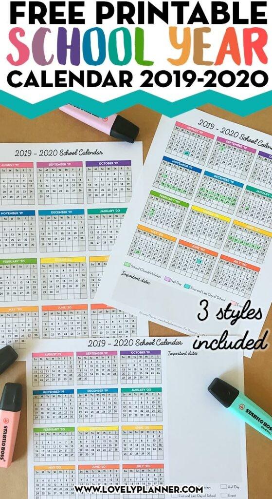 Free Printable 2019 2020 e Page School Calendar