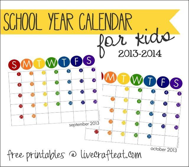 Free Printable School Calendar Kids School Year Calendar Free 2013 14 Printable