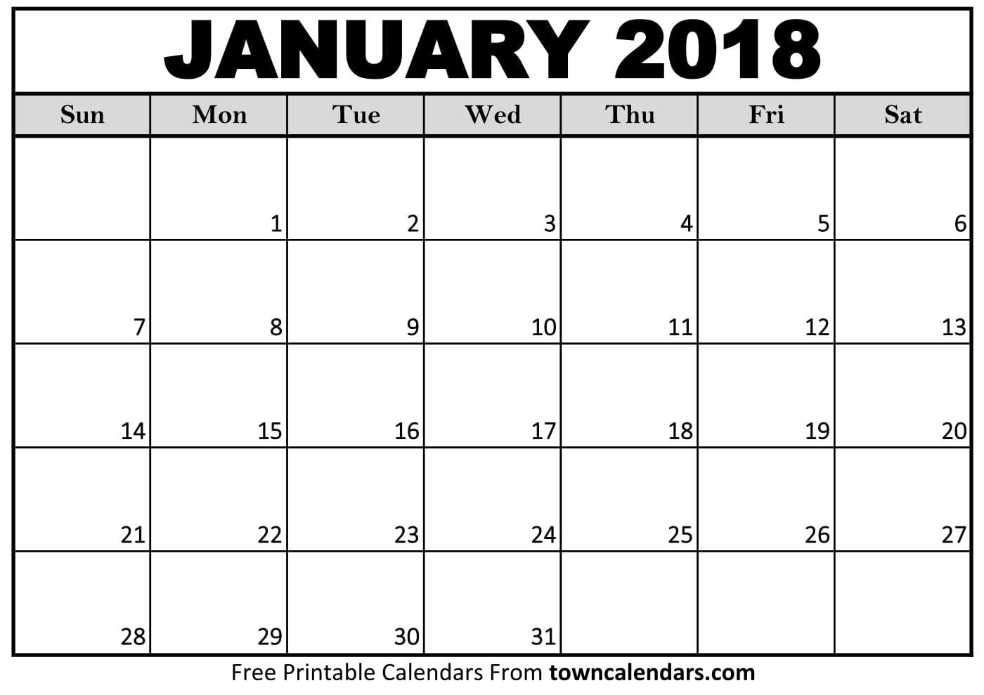 2018 Calendar Printable towncalendars