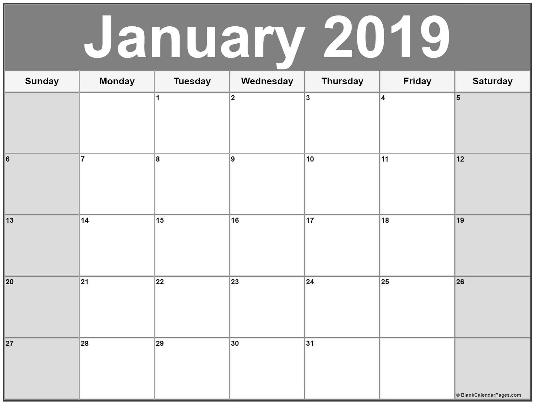 January Printable Calendar January 2019 Calendar