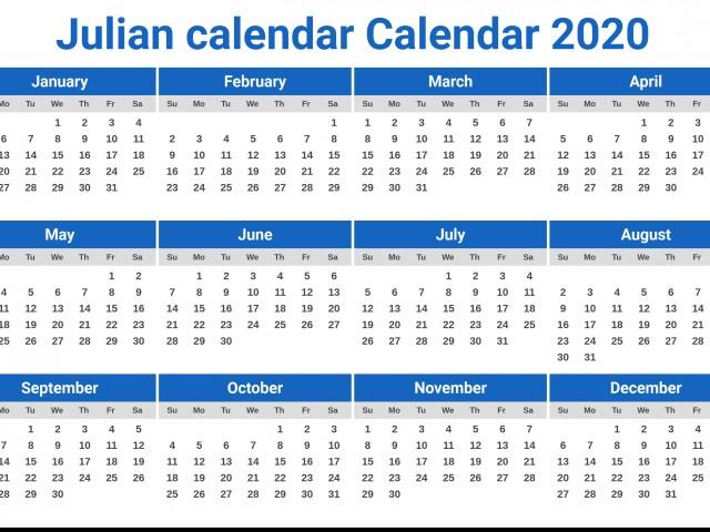 Julian calendar Calendar 2020