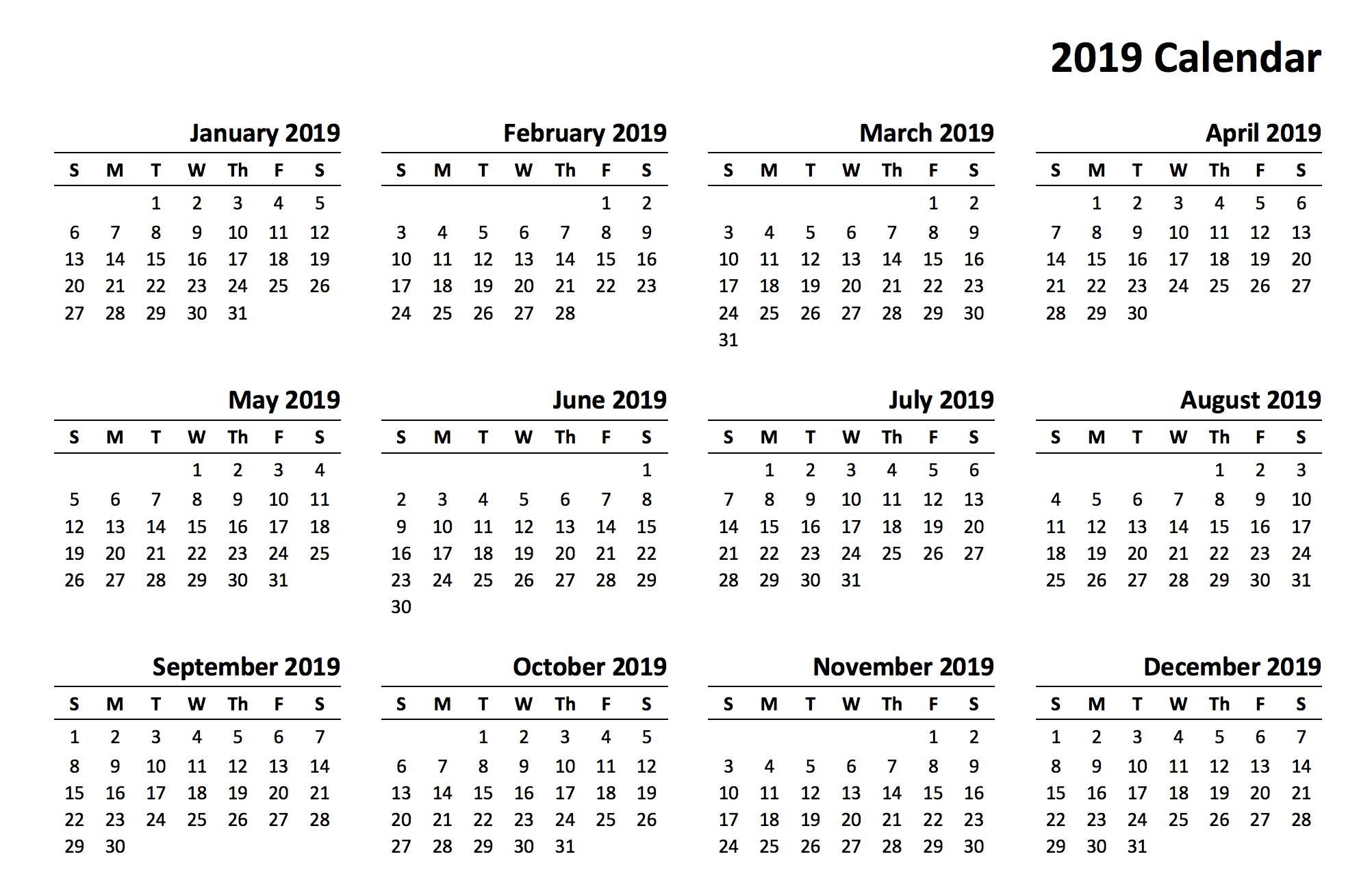 2019 Printable Calendar Templates PDF Excel Word Free