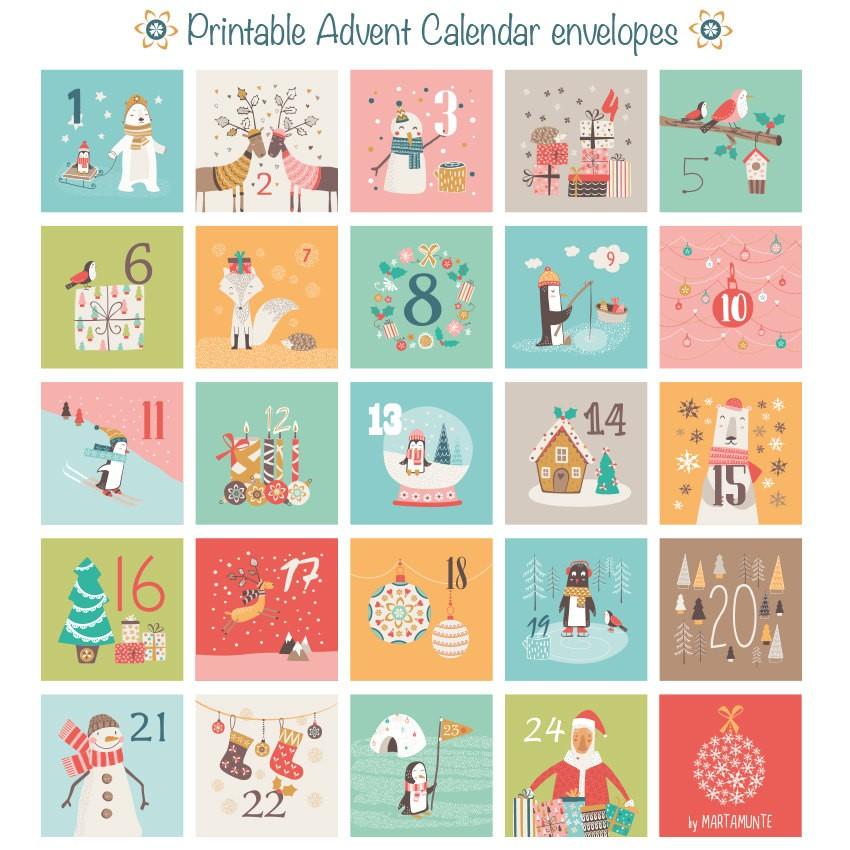 Printable Advent Calendar 24 mini envelopes Christmas