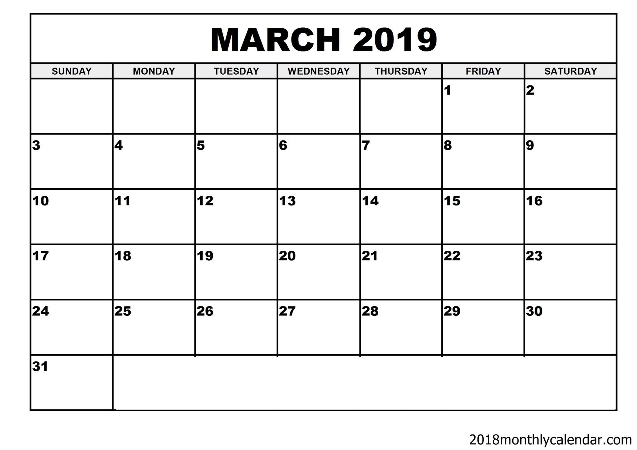 Download March 2019 Calendar – Blank Template Editable