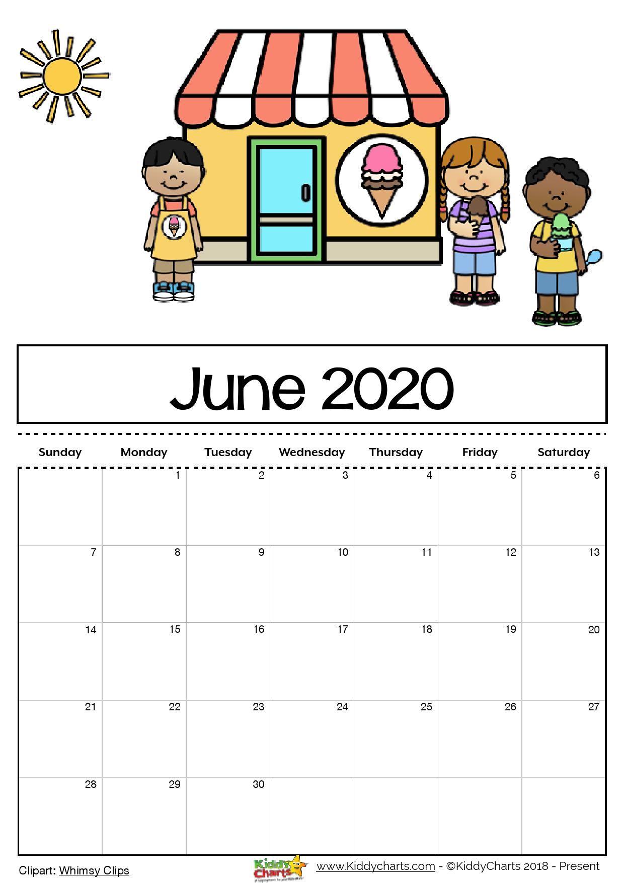 Free Printable 2020 calendar for kids including an
