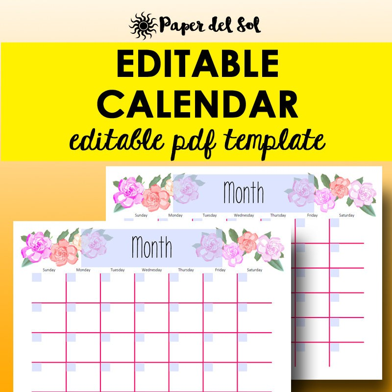 Monthly Calendar Editable Template Planner Printable Calendar