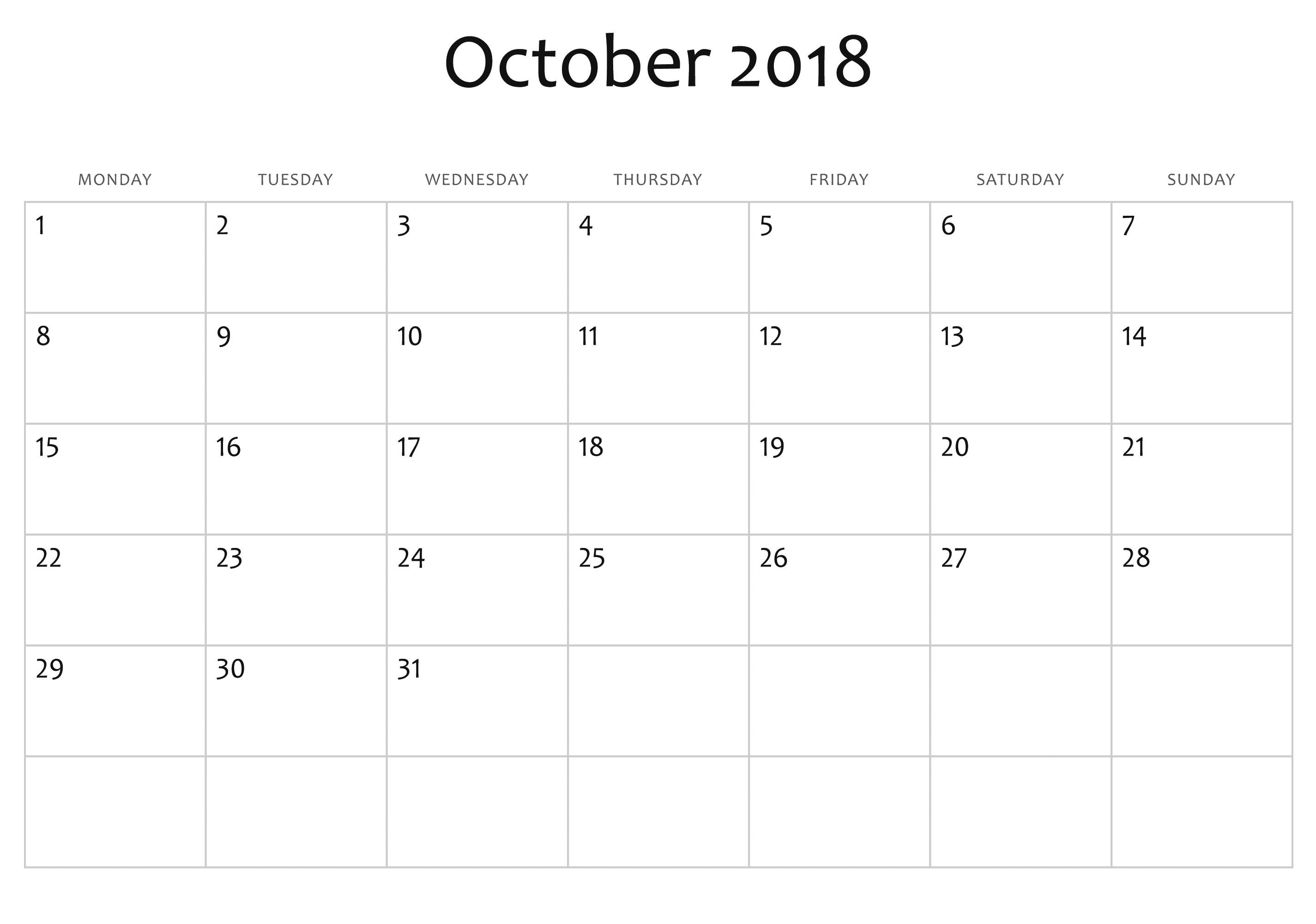 Printable and Editable Calendar October 2018 Calendar Editable Full