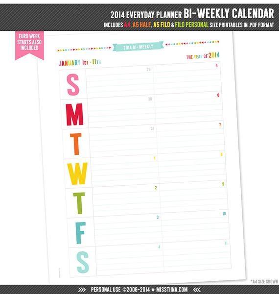 Printable Bi Weekly Calendar 2014 Biweekly Calendar Printable Pdf Planner Pages by