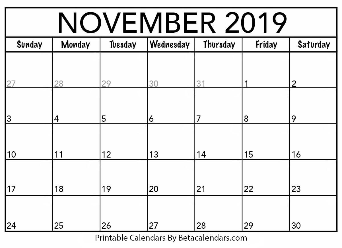 Blank November 2019 Calendar Printable Beta Calendars