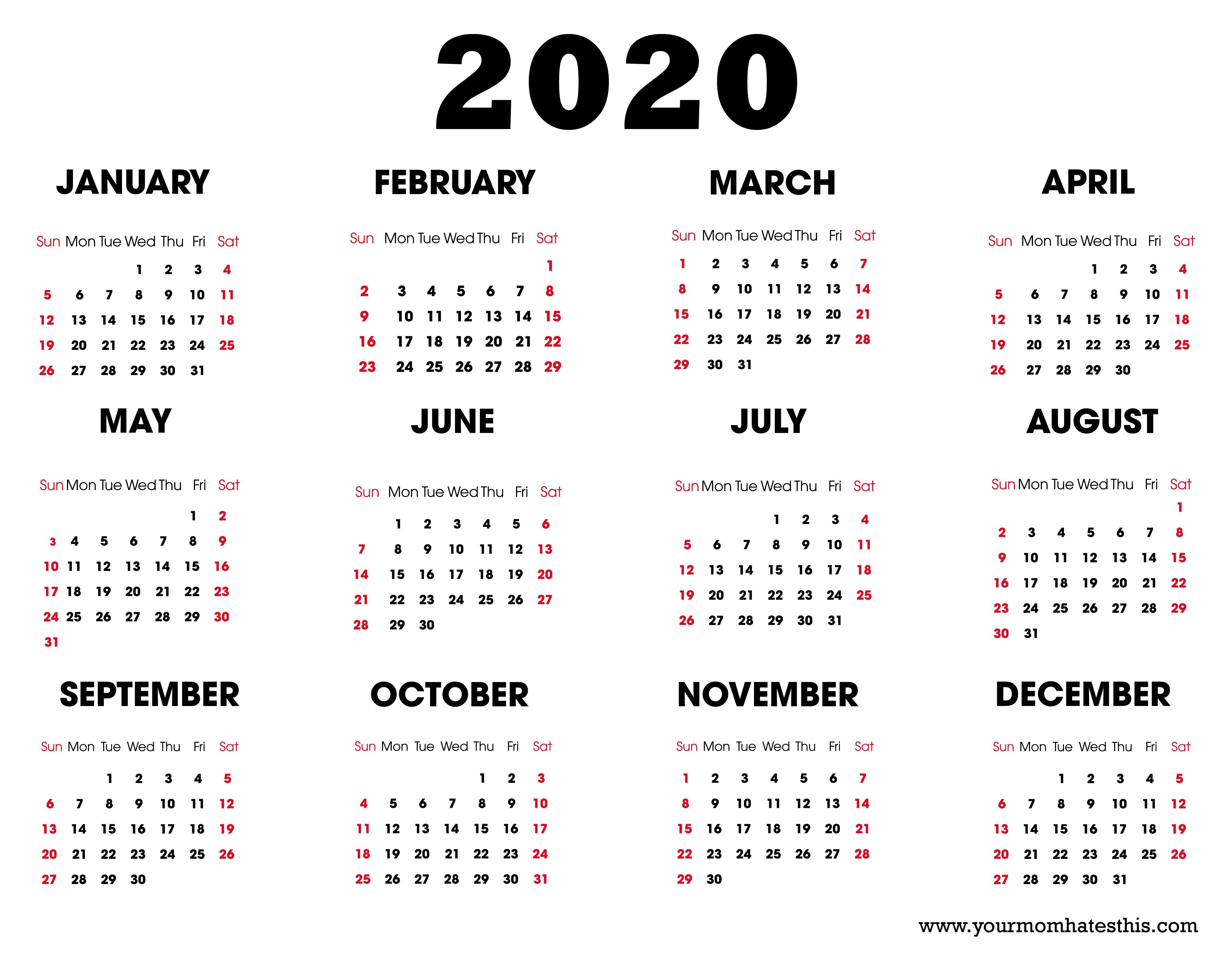 Printable Calendars 2020