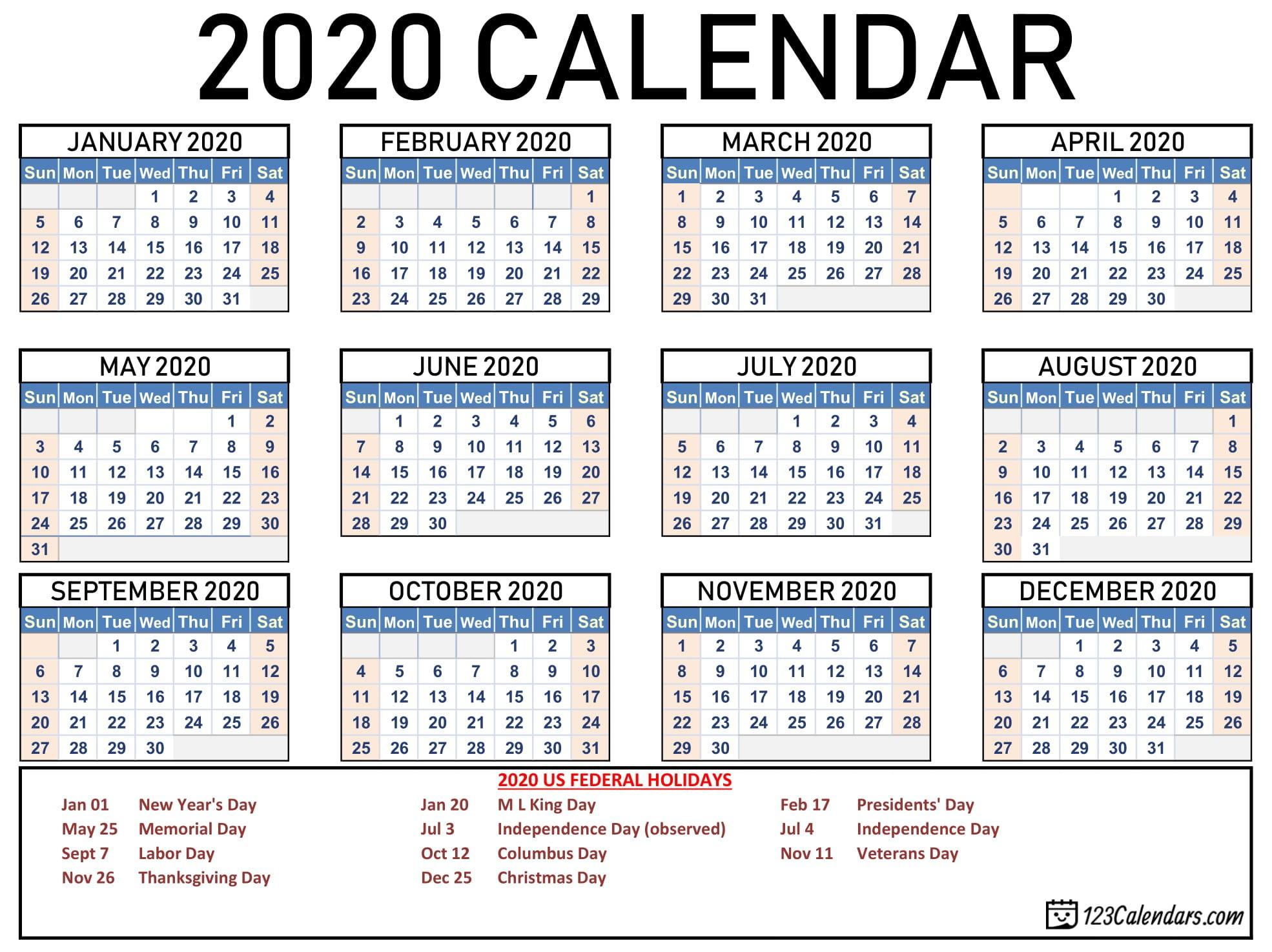 Printable Calendars 2020 Free Printable 2020 Calendar