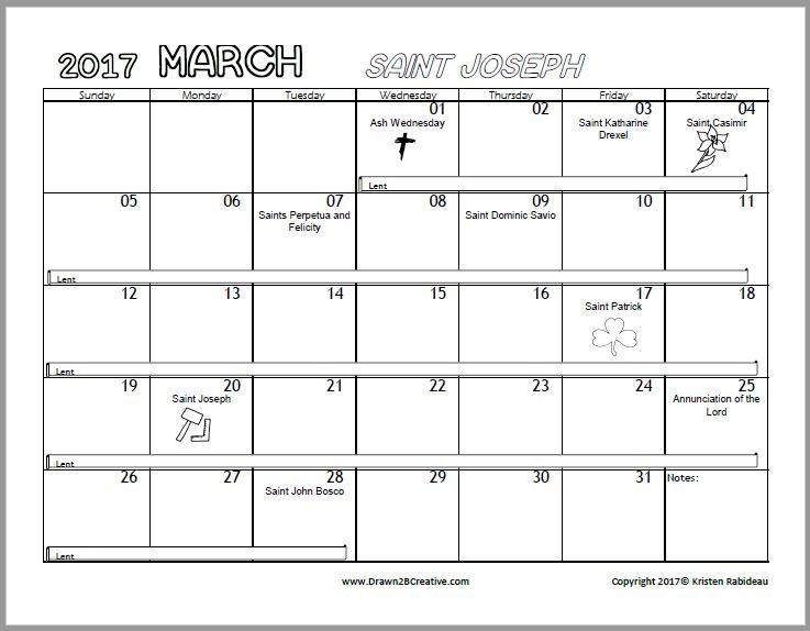 Printable Catholic Calendar Free Printable Catholic Coloring Calendar 2017