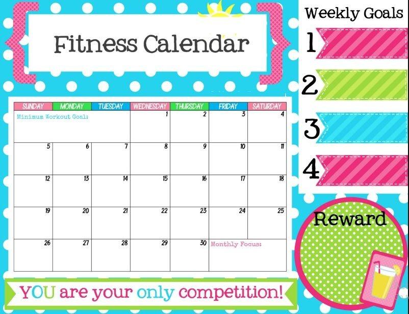 Printable Fitness Calendar Free Printable Fitness Tracker Calendar