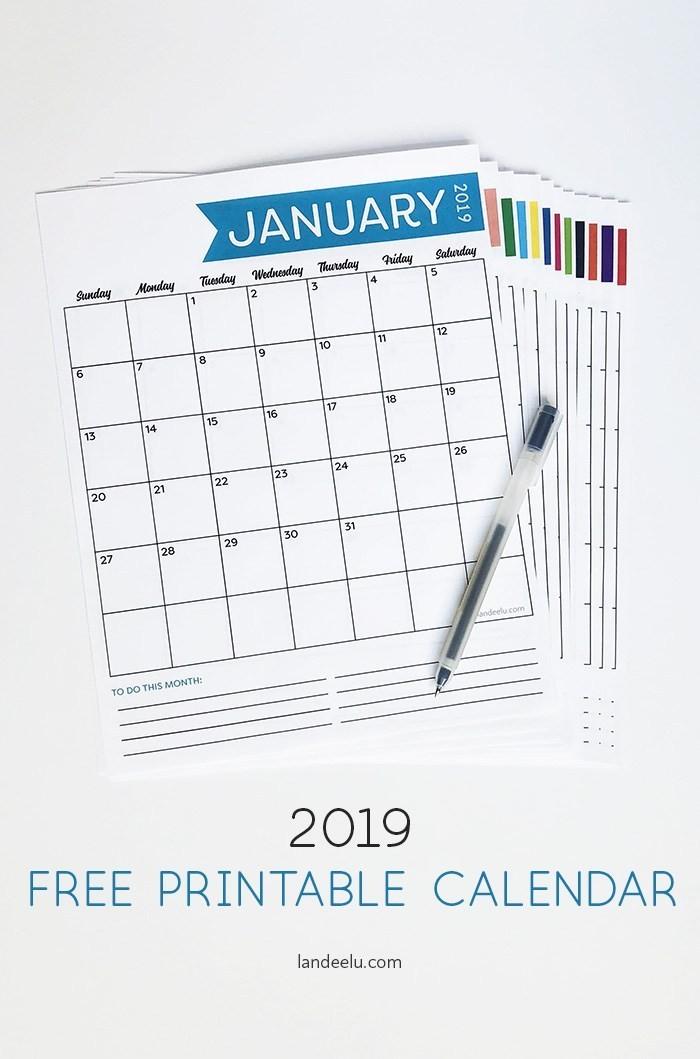 Printable Free Calendar 2019 Free 2019 Printable Calendar Landeelu