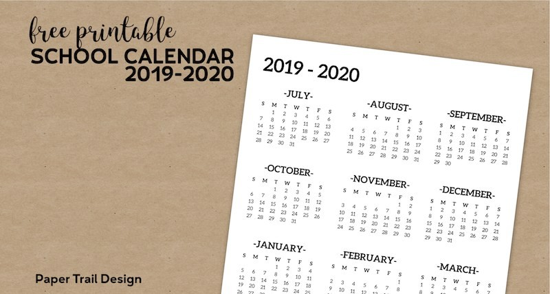 Printable School Year Calendar 2019-18