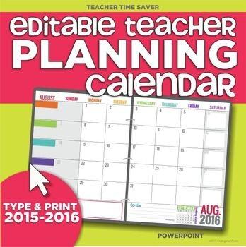 Teachers Printable Calendar 17 Month 2015 2016 Editable Planning Calendar Template
