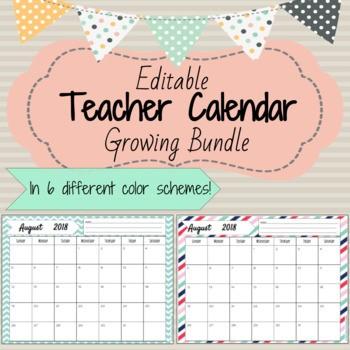 Teachers Printable Calendar 2018 2019 Editable Printable Calendar Growing Bundle