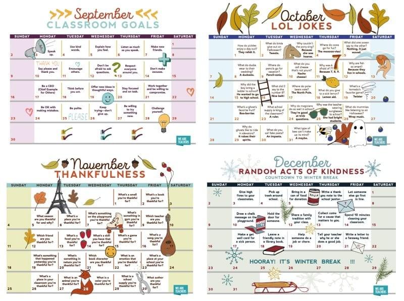 2018 Teacher Calendar Free Printable for Your Classroom
