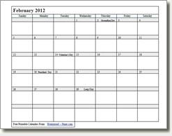 Waterproof Printable Calendar