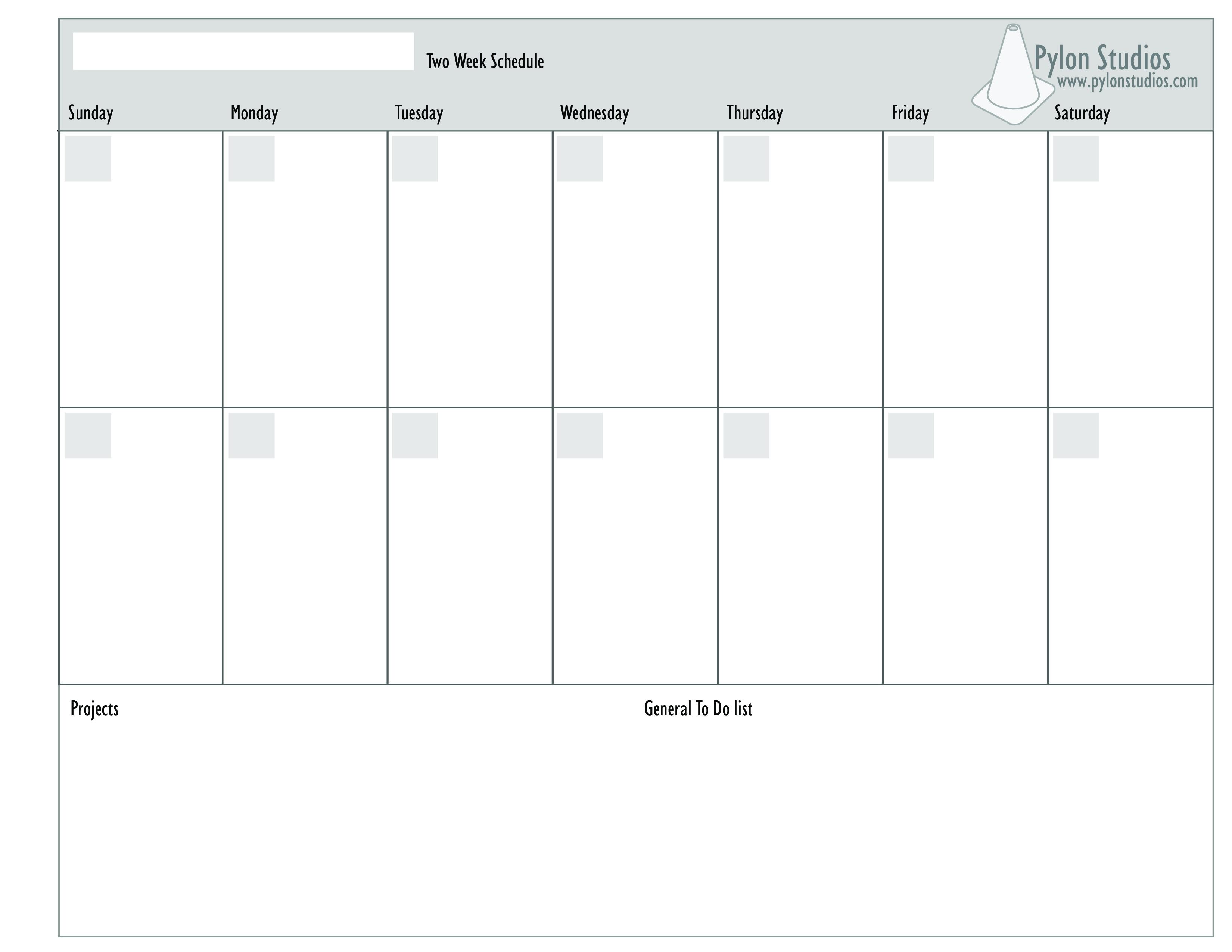 Week Calendar Printable 2 Week Calendar