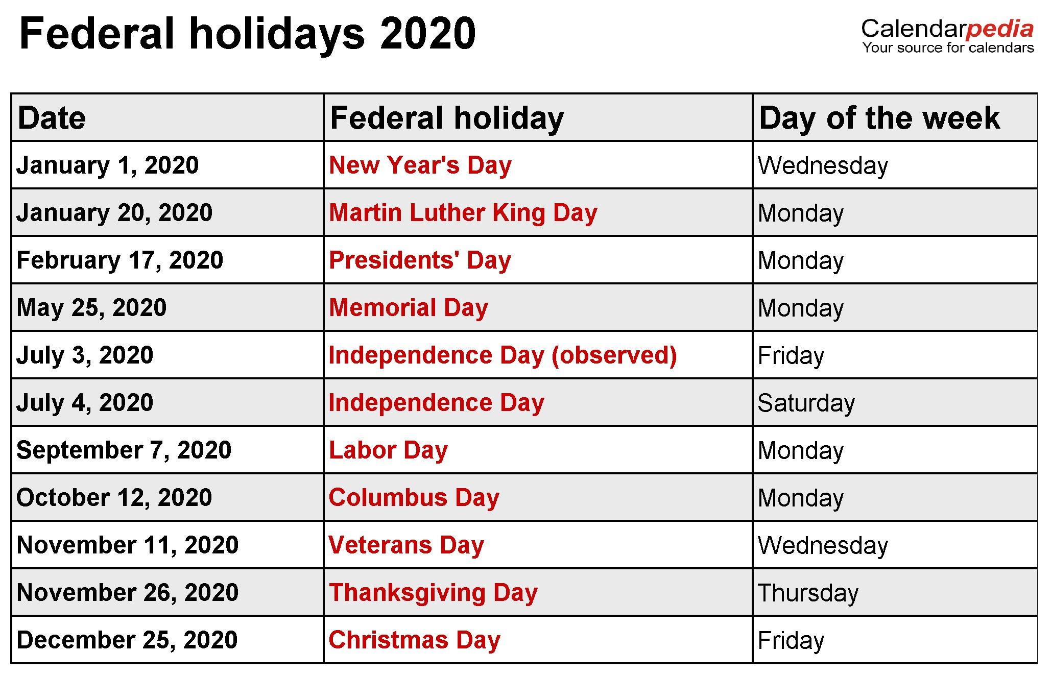 2020 Calendar with Holidays Printable 12 Months 2020 Printable Calendar with Holidays