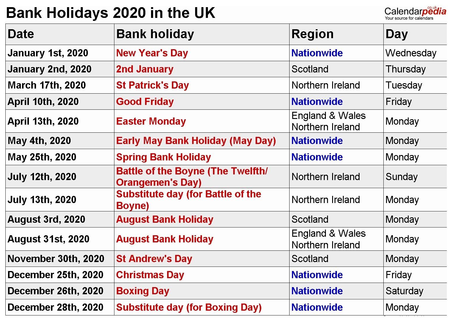 12 Months 2020 Printable Calendar With Holidays