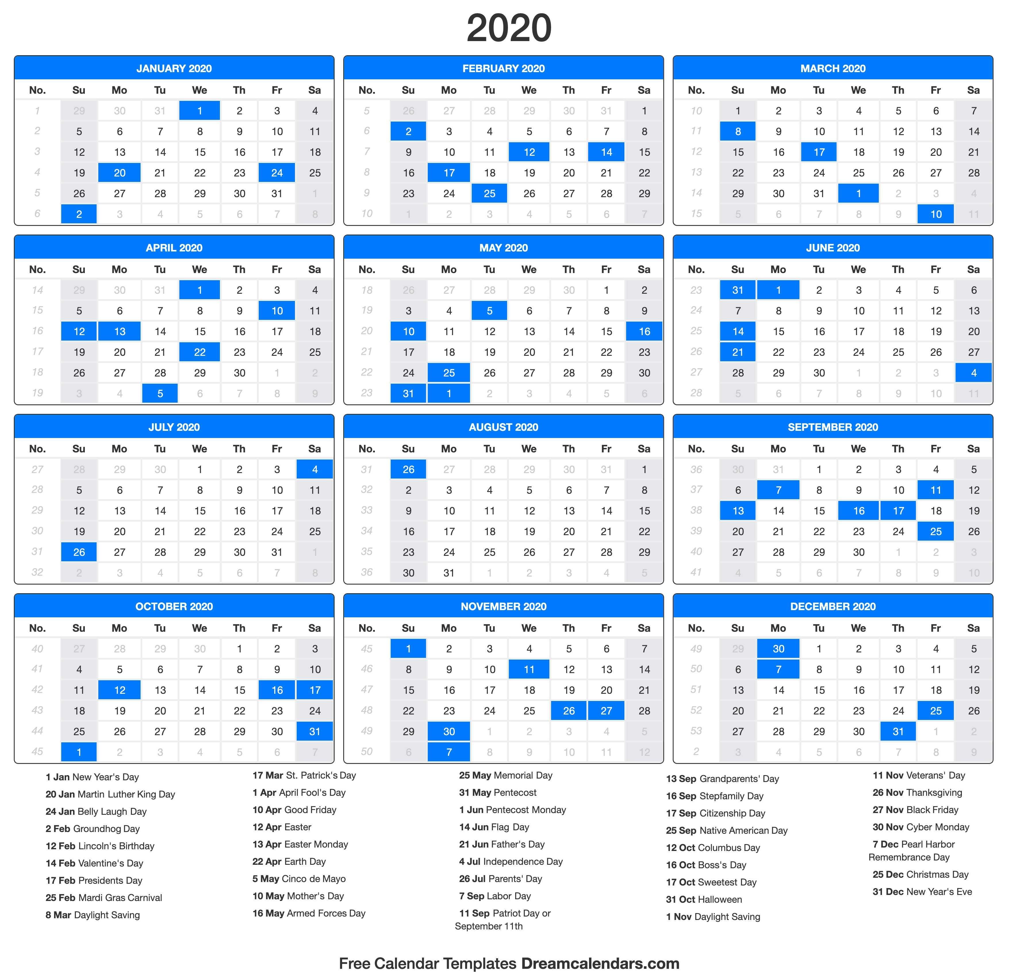 2020 Calendar with Holidays Printable 2020 Calendar