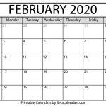 2020 February Calendar Printable Blank February 2020 Calendar Printable Beta Calendars