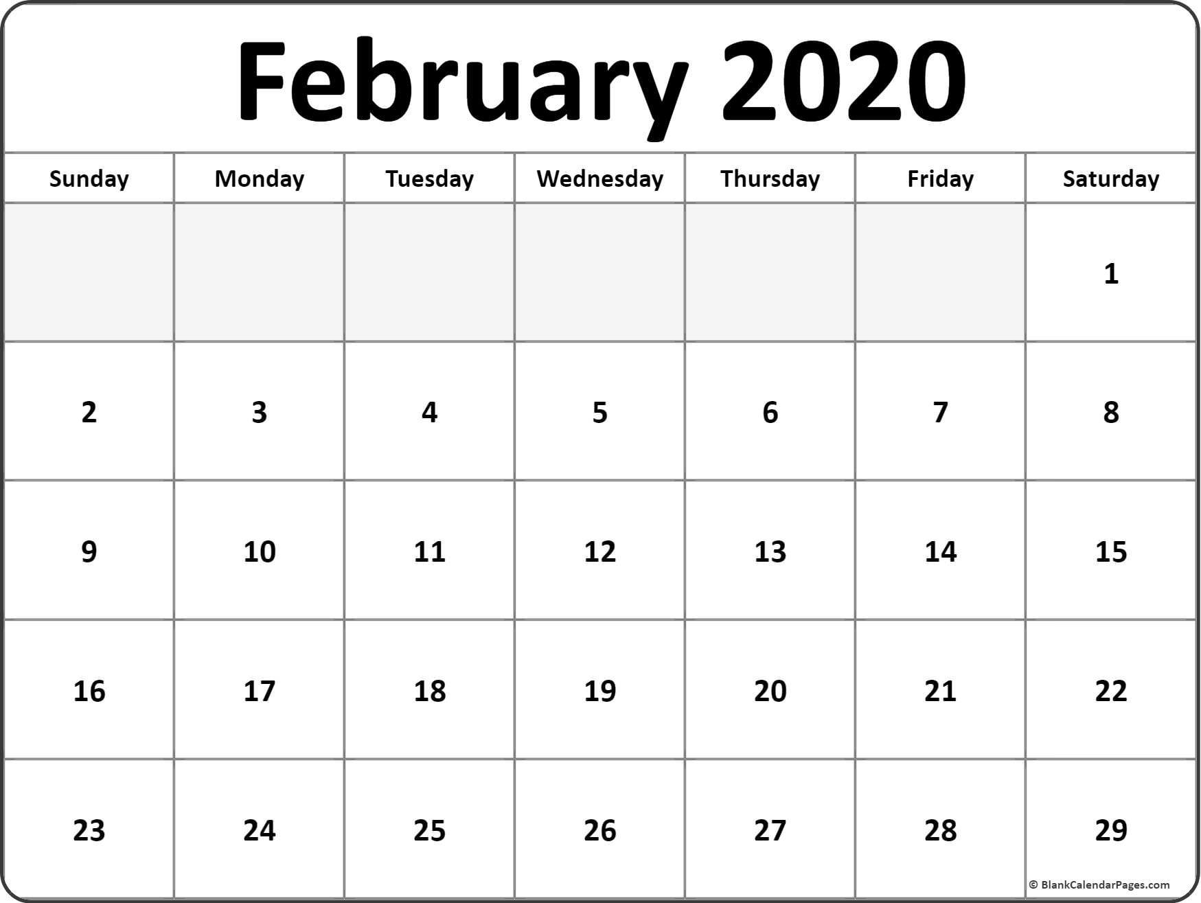 2020 February Calendar Printable February 2020 Blank Calendar Templates
