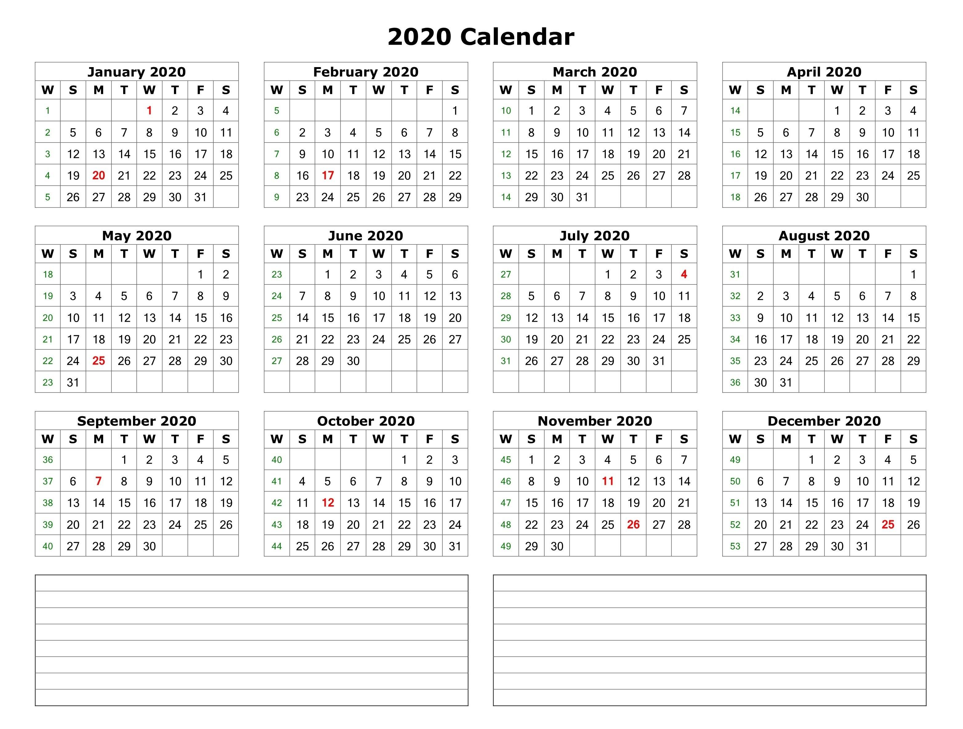 2020 Free Printable Calendars 2020 E Page Calendar Printable