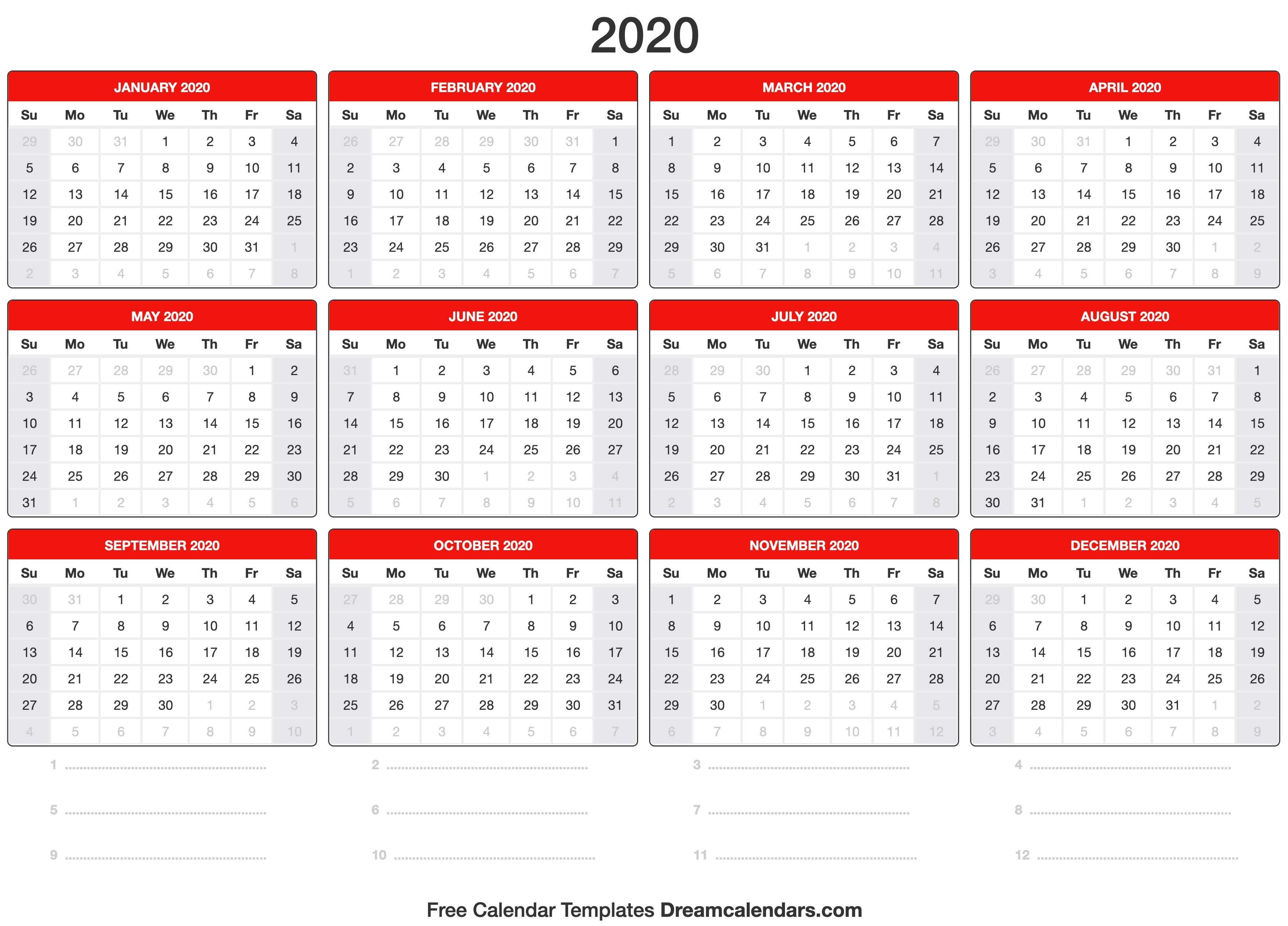 2020 Printable Calendars 2020 Calendar