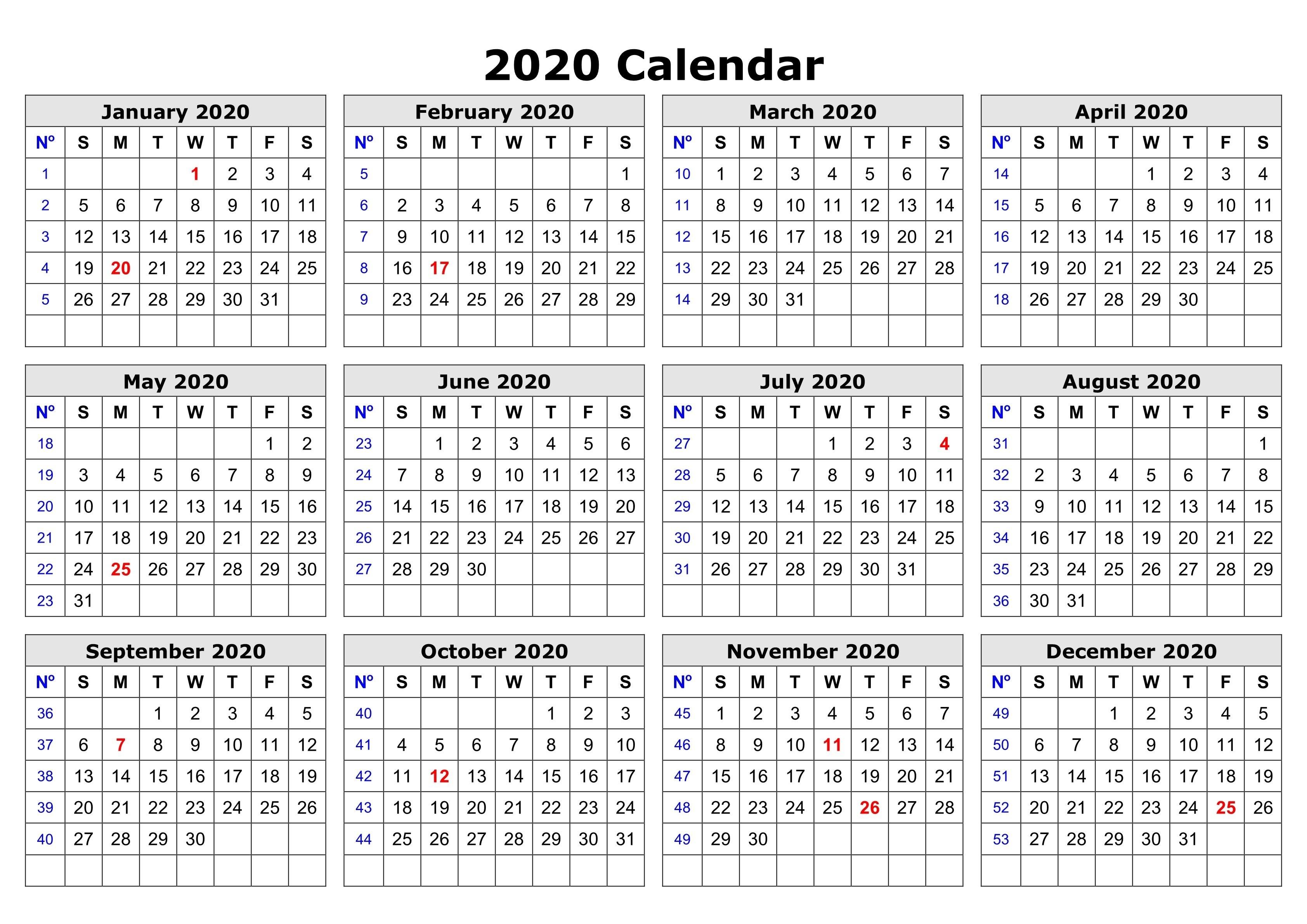 2020 e Page Calendar Printable