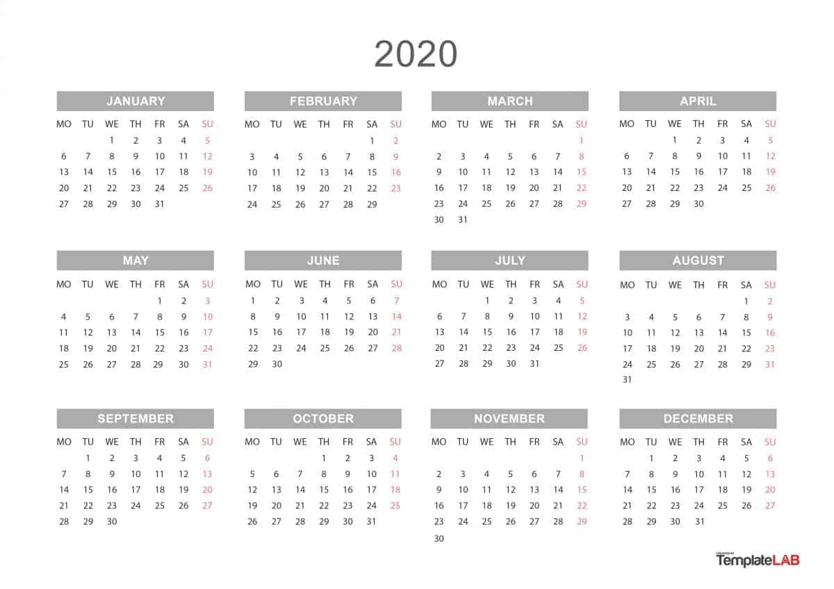 2020 Printable Calendars [Monthly with Holidays Yearly