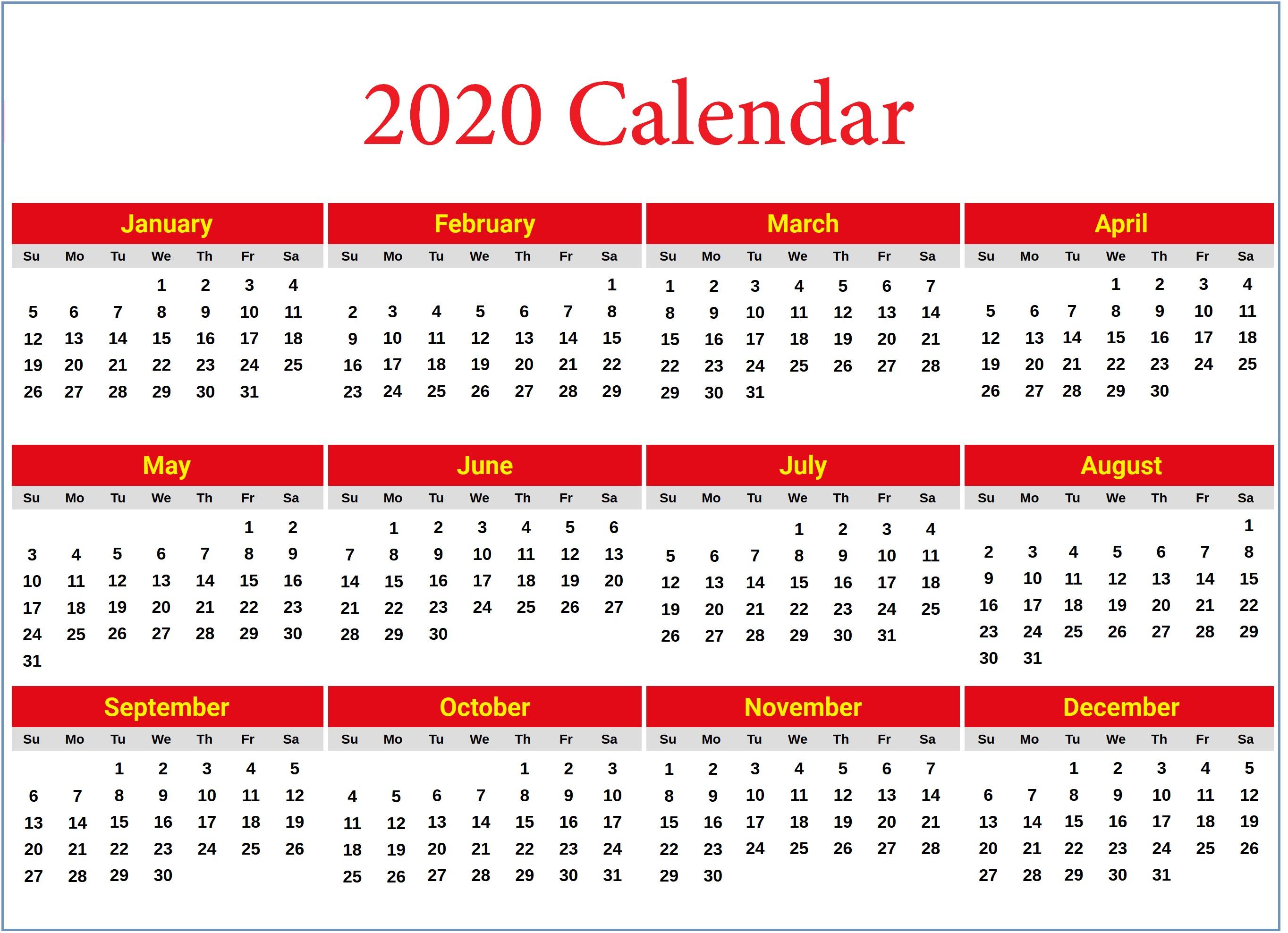 2020 Printable Yearly Calendar 2020 Yearly Calendar Printable