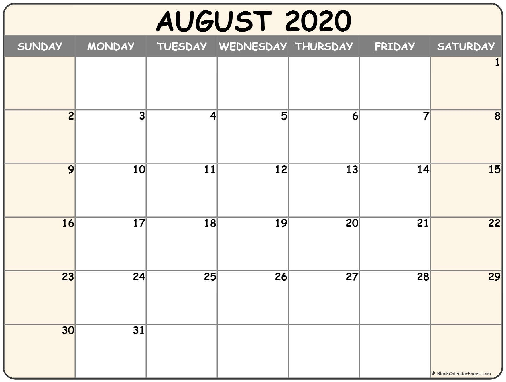 August 2020 Printable Calendar August 2020 Calendar