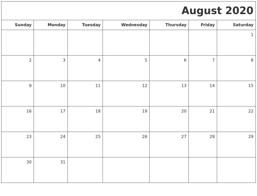 August 2020 Printable Calendar August 2020 Printable Blank Calendar