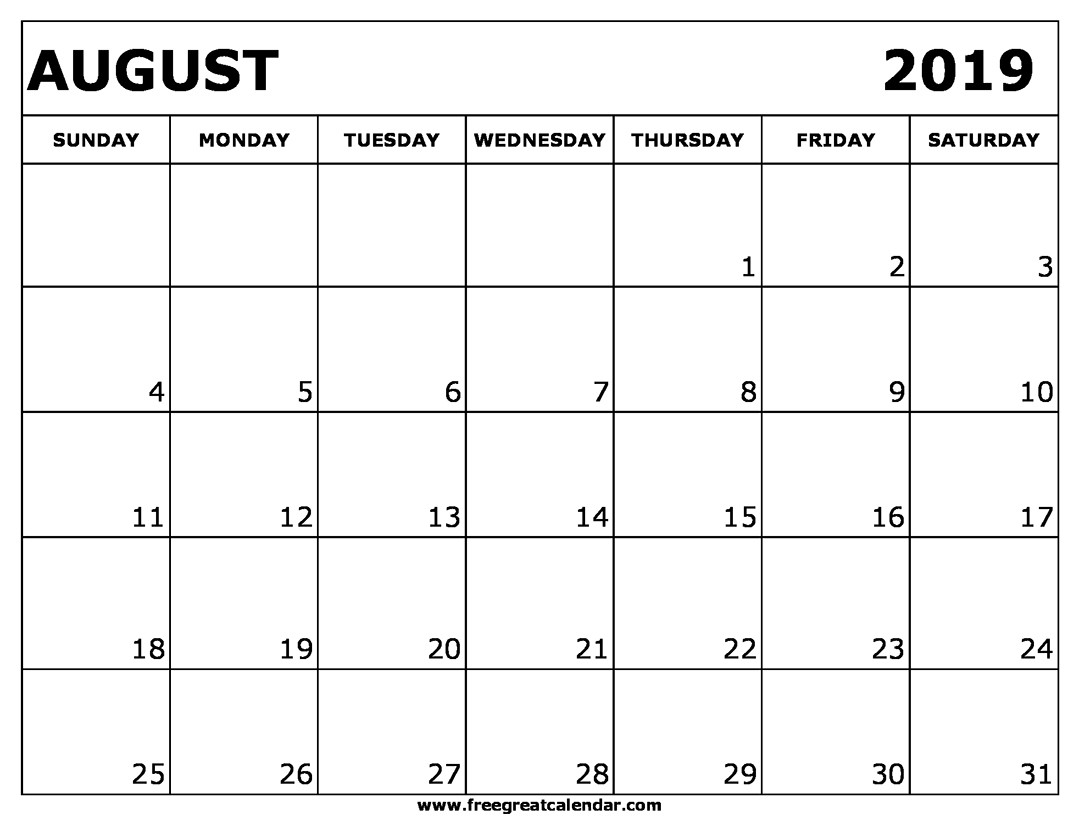 Blank Printable Calendar Blank August 2019 Calendar Printable