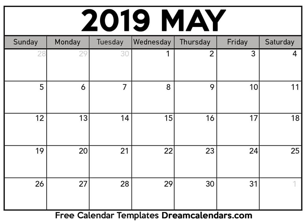 Blank Printable Calendar Printable Blank May 2019 Calendar On We Heart It