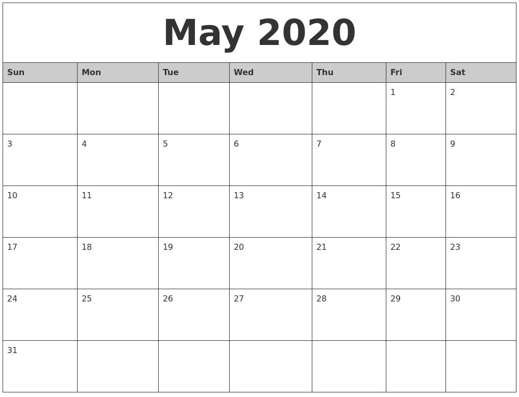 Calendar 2020 Printable Monthly