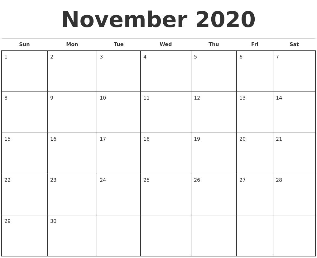 Calendar 2020 Printable Monthly November 2020 Monthly Calendar Template