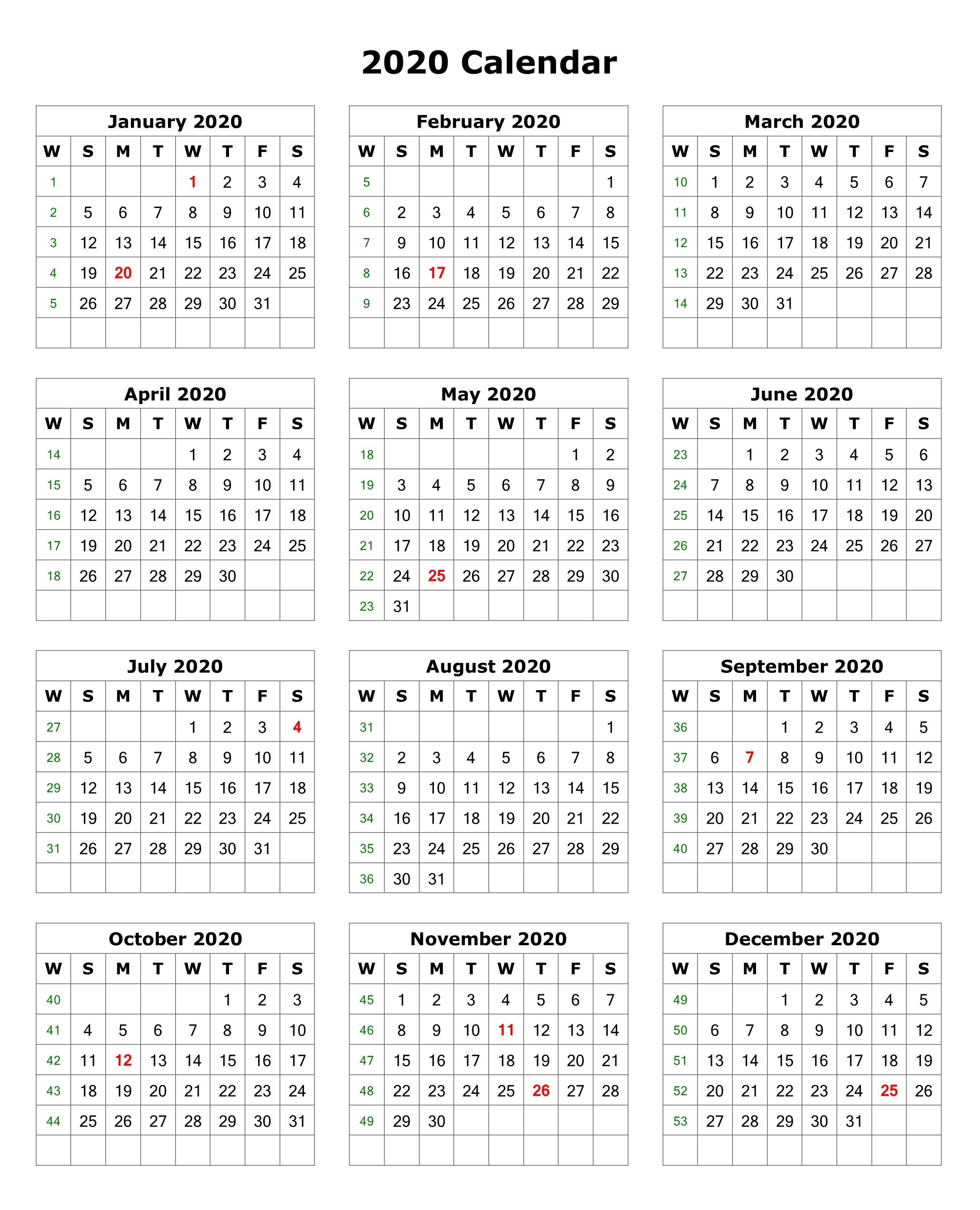 Calendar for 2020 Printable 2020 E Page Calendar Printable
