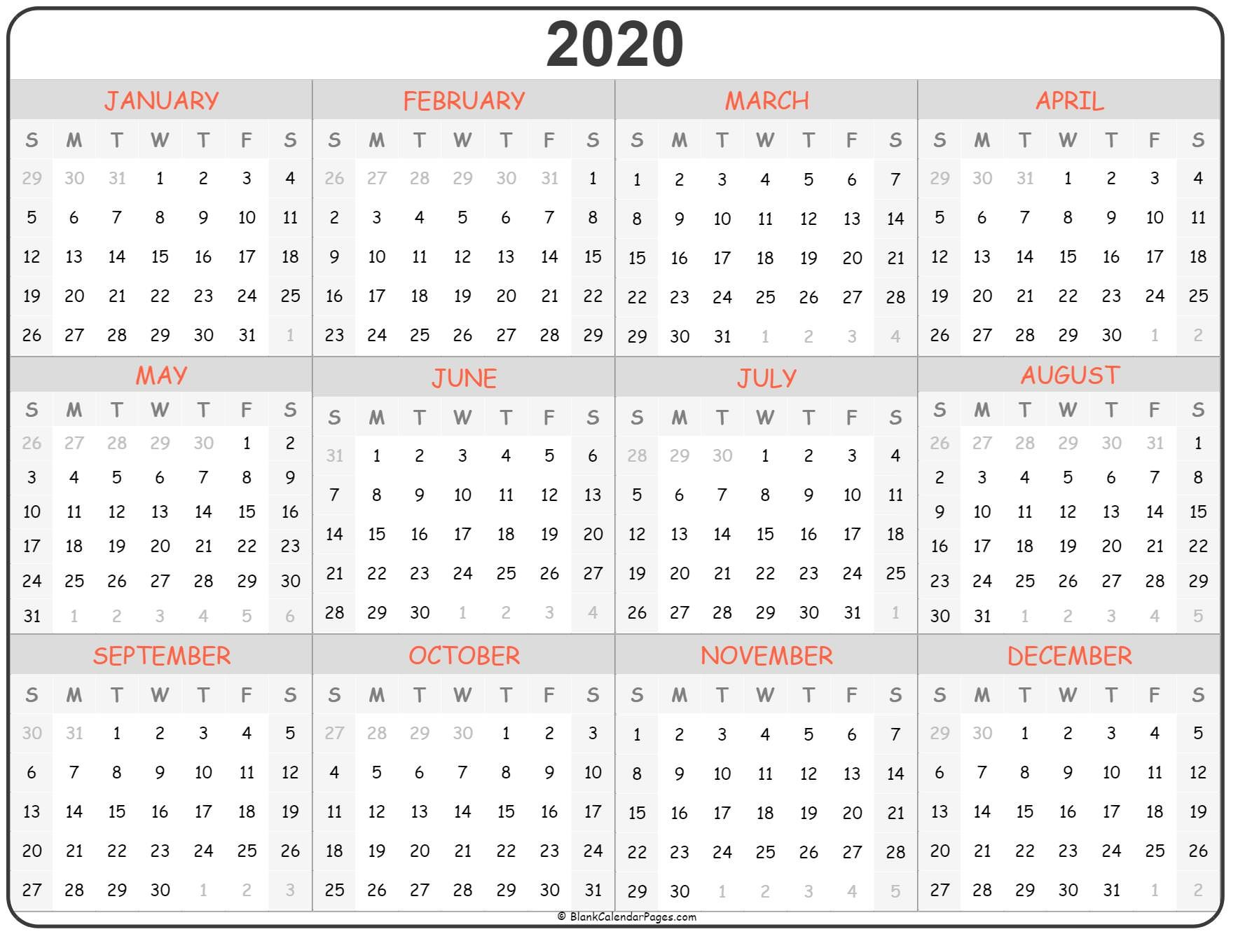 Calendar for 2020 Printable 2020 Year Calendar