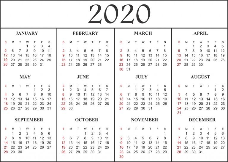 Calendar for 2020 Printable