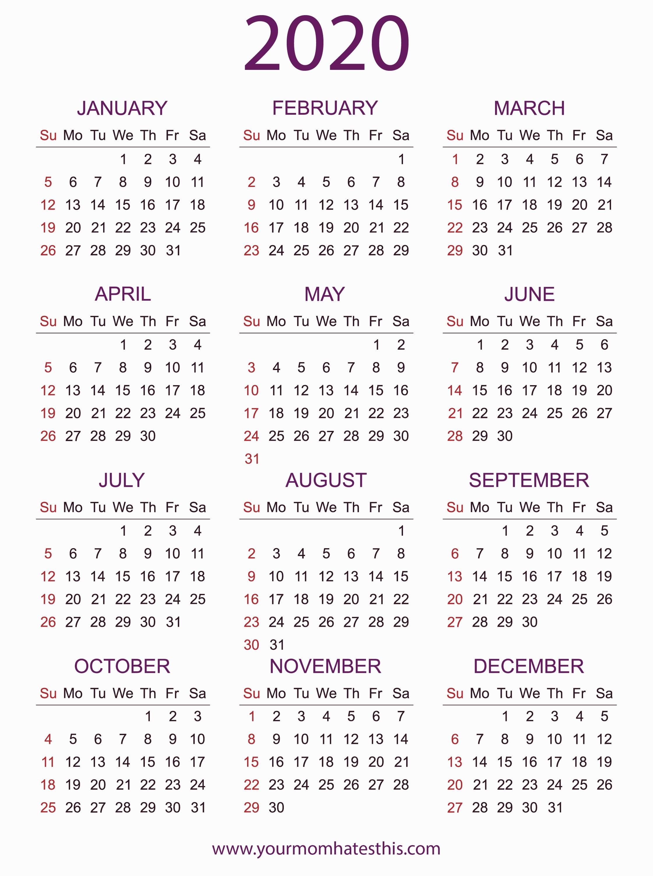 Calendars 2020 Printable 2020 Calendars In Pdf Download Templates Of Calendar 2020